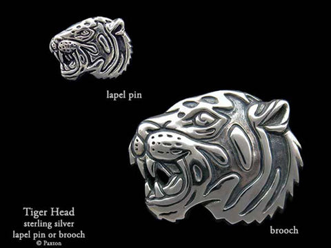Tiger Head Lapel Pin Brooch sterling silver