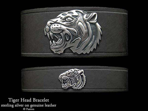 Tiger Head on Leather Bracelet