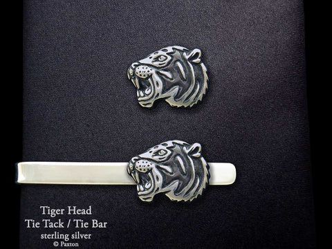 Tiger Head Tie Tack Tie Bar sterling silver