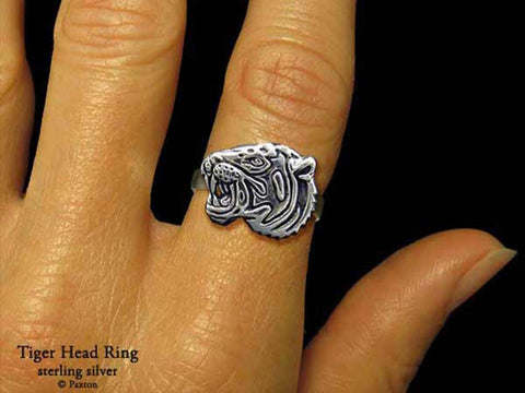 Tiger Head ring sterling silver