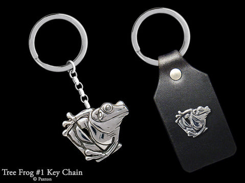 Tree Frog Key Chain Sterling Silver