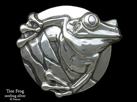 Tree Frog Belt Buckle sterling silver