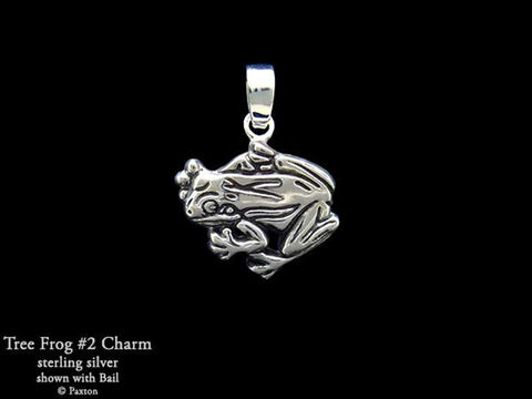 Tree Frog 2 Charm Necklace sterling silver