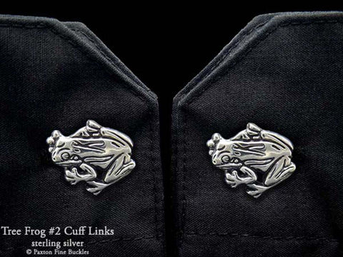 Tree Frog 2 Cuff Links sterling silver