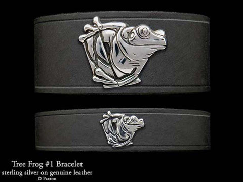 Tree Frog on Leather Bracelet