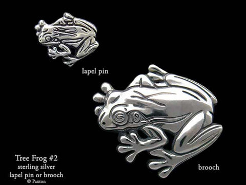 Tree Frog #2 lapel Pin Brooch sterling silver