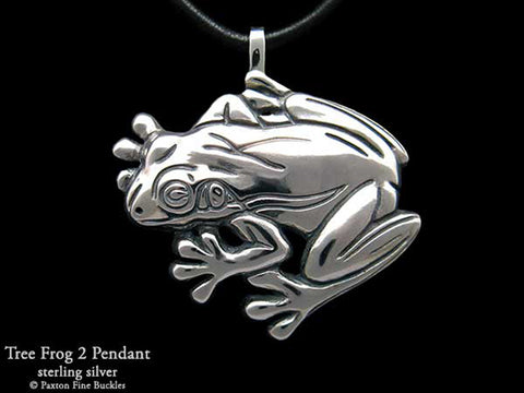 Tree Frog #2 Pendant Necklace sterling silver