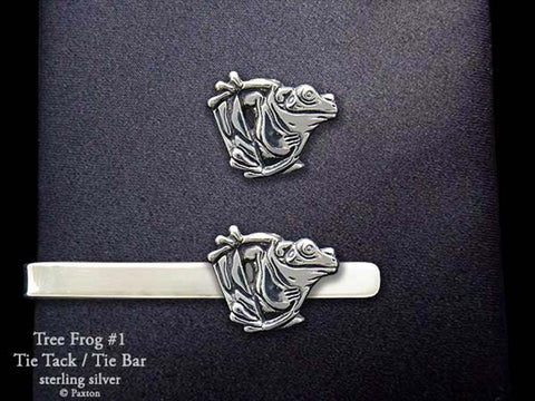Tree Frog 1 Tie Tack Tie bar sterling silver