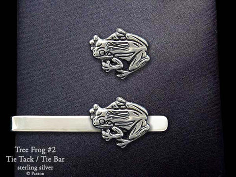 Tree Frog #2 Tie Tack Tie Bar sterling silver