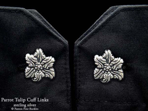 Parrot Tulip Flower Cuff Links sterling silver