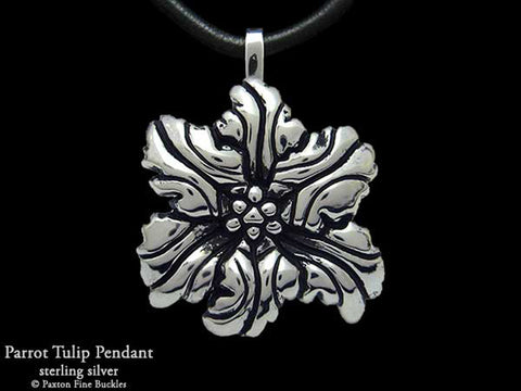 Parrot Tulip Flower Pendant Necklace sterling silver