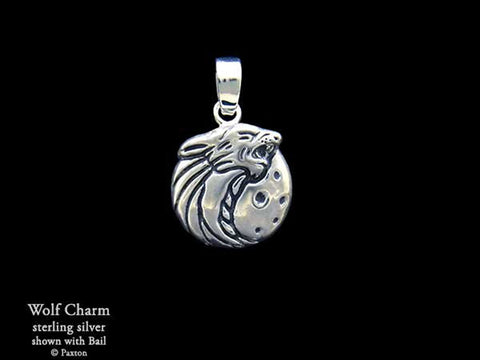 Wolf Head Charm Necklace sterling silver