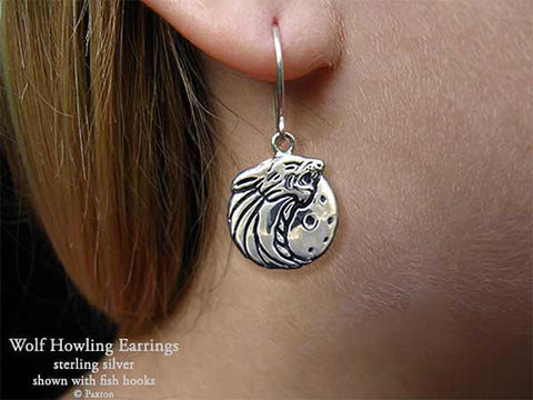 Wolf Head Earrings fishhook sterling silver