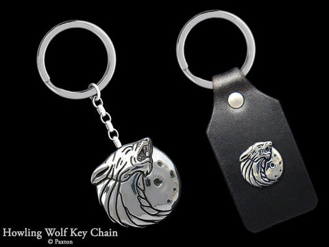 Wolf Head Key Chain Sterling Silver