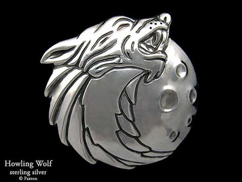 Howling Wolf Head Belt Buckle sterling silver