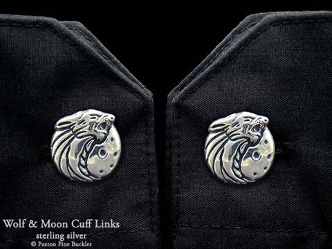 Howling Wolf Head Cuff Links sterling silver