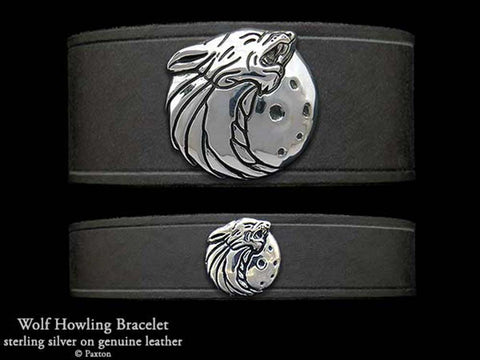 Howling Wolf Head on Leather Bracelet