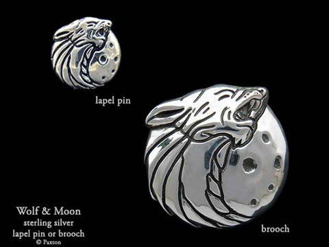 Howling Wolf Lapel Pin Brooch sterling silver