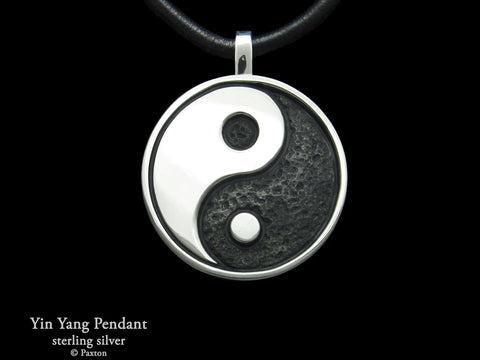 Yin Yang Pendant Necklace Sterling Silver