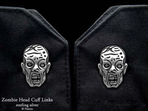 Zombie Head Cuff Links sterling silver