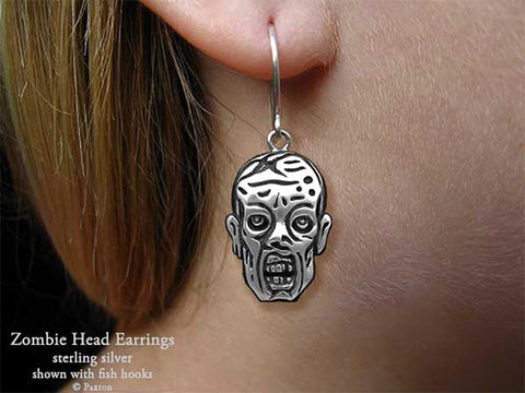 Zombie Head Earrings fishhook sterling silver Walking dead inspired
