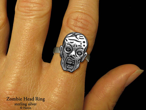 Zombie Head ring sterling silver