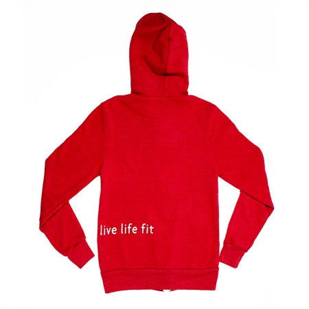 live life fit: uni-sex red hoodie
