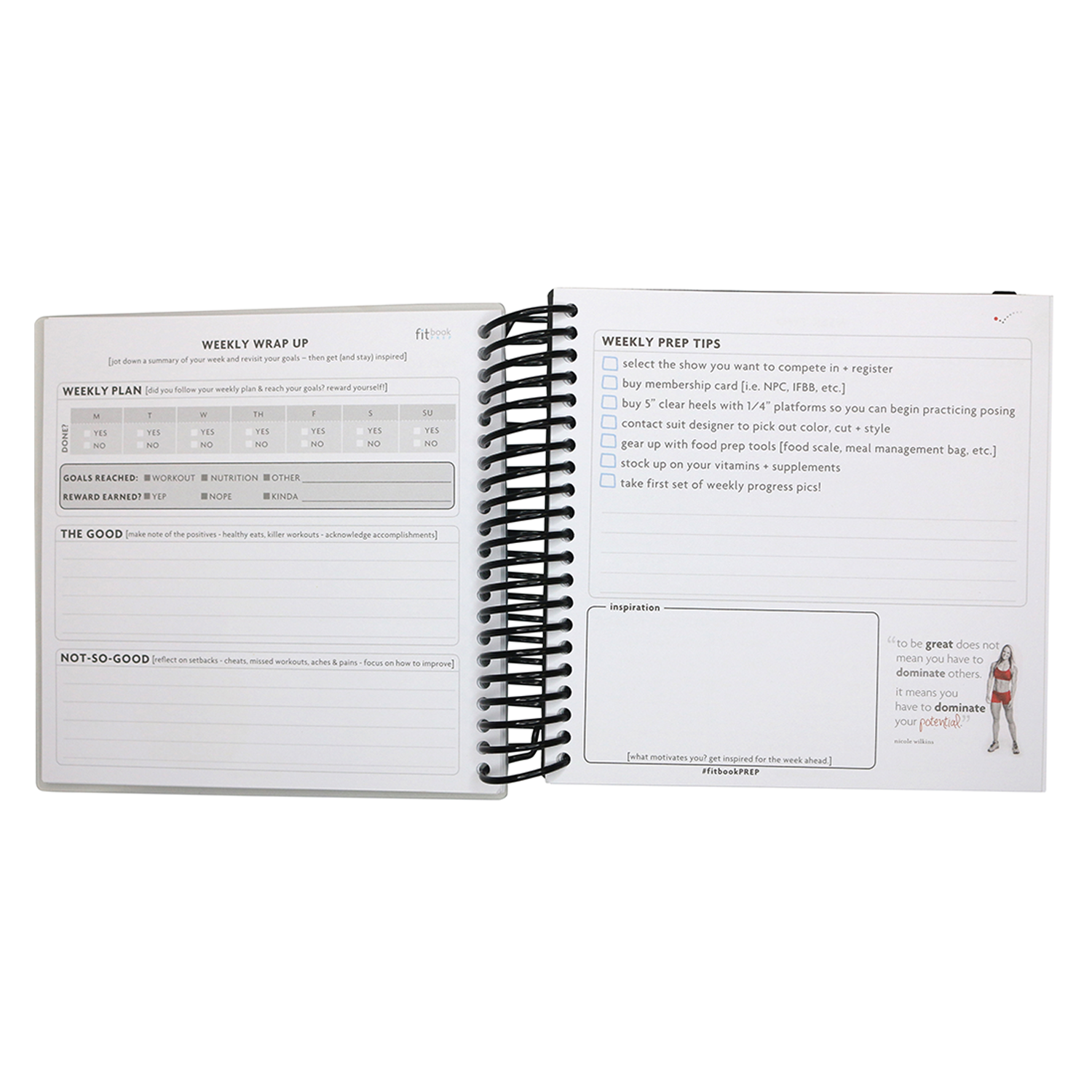fitbook prep 12 week competition journal for fitness competitors