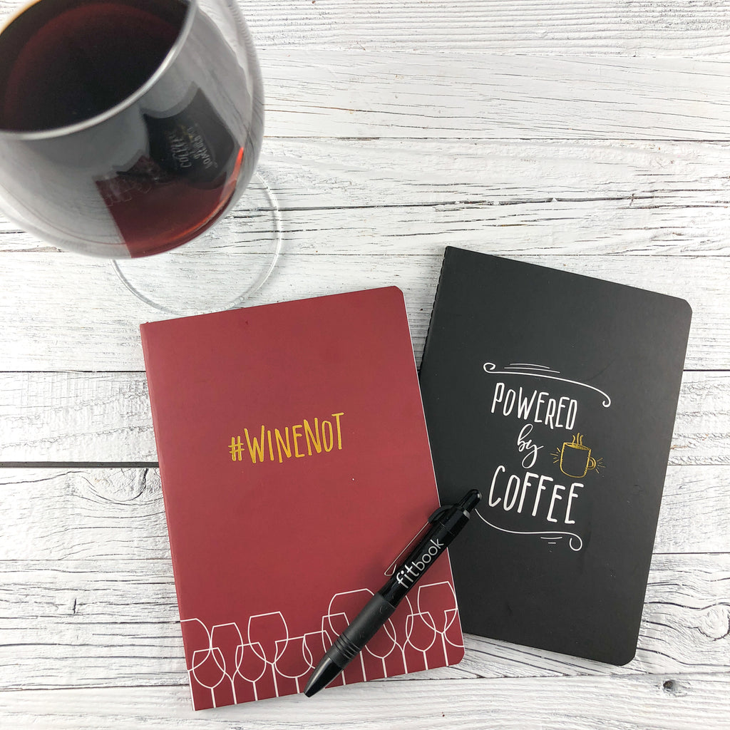 noteable journal set: powered by coffee and #winenot