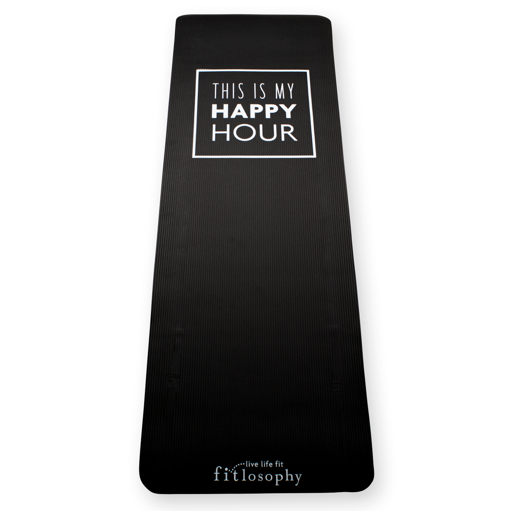 this is my happy hour fitmat [black exercise mat]