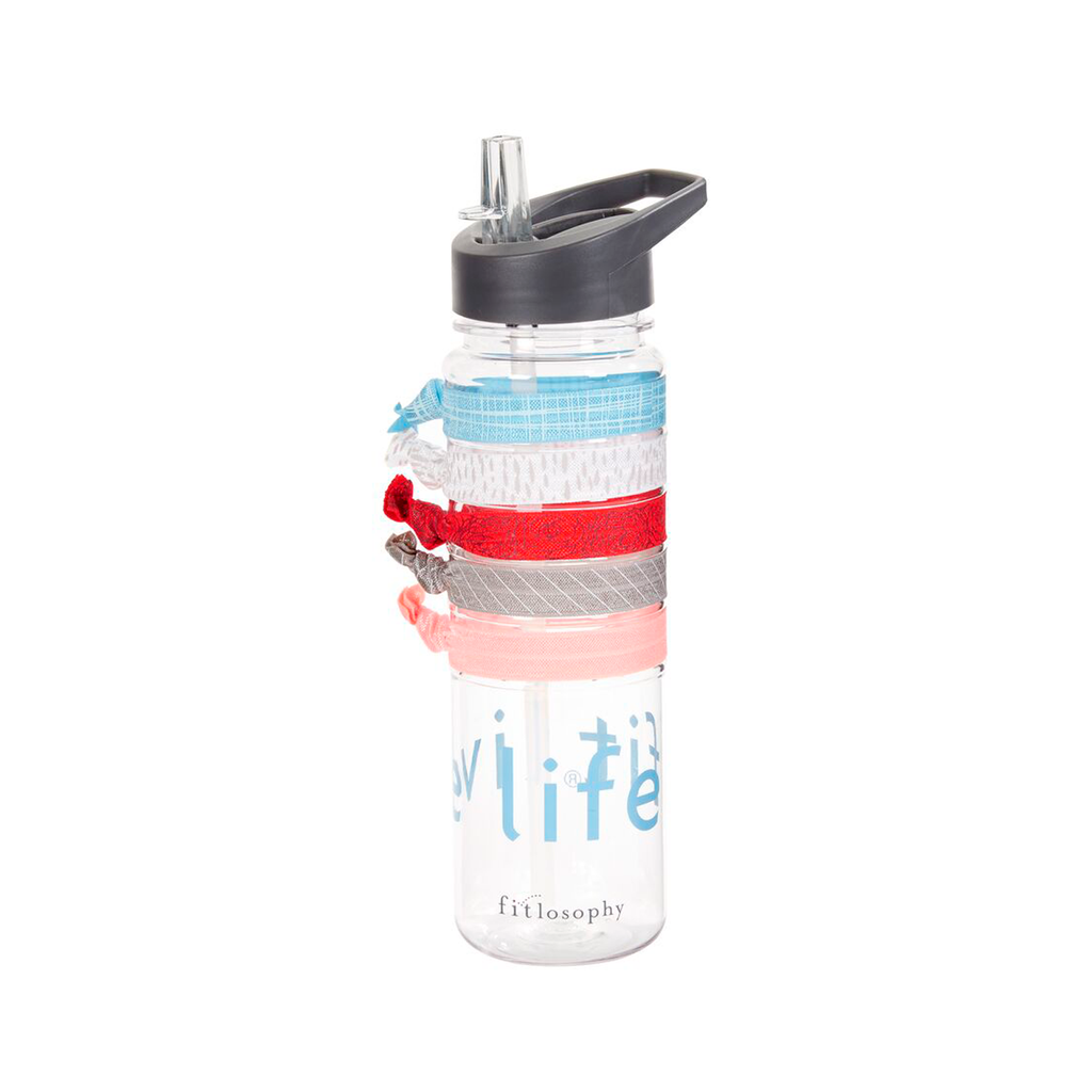 sport bottle with hair ties