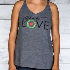 "Woman's gray tank top with ""give love"" printed on front"