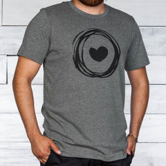 Gray Corazon de Vida t-shirt with logo printed on front