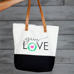 "Khaki and black tote bag with ""give love"" printed"