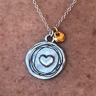 Heart to Heart Necklace (silver with gold mini pendant)