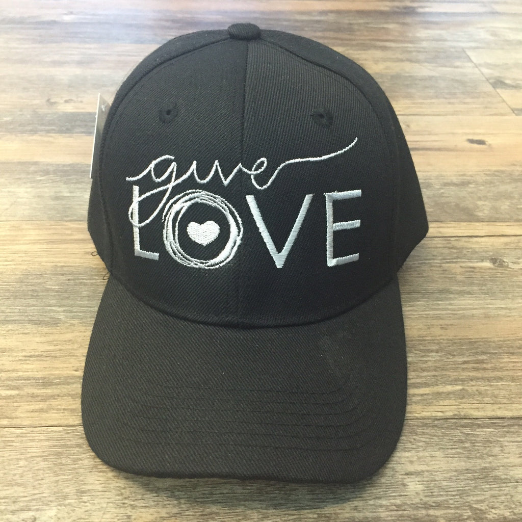 "Black cap with ""give love"" embroidered on the front in white"