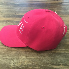 Side of pink 6 panel cap