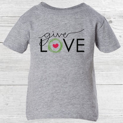 "Gray baby t-shirt with ""give love"" printed on the front"