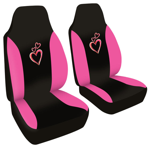 Pink Hearts Front Car Seat Covers - Cute Accents on Black Polyester Cloth
