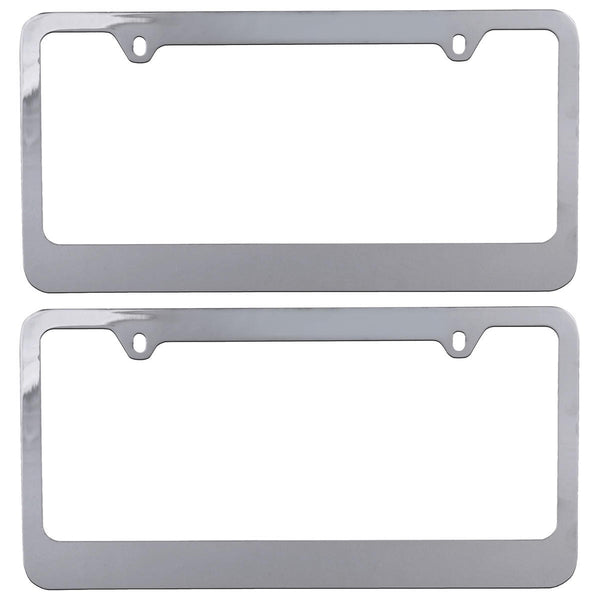 BDK USA Blank Chrome Metal License Plate Frame 1 or 2 Pieces (2)
