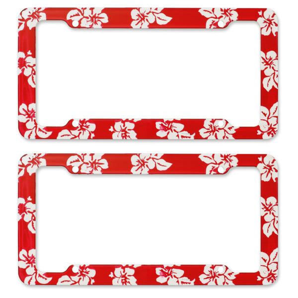 BDK USA 2pc Set Plastic License Plate Frames Hawaiian Design Red