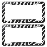 Zebra License Plate Frames (Set of Two) Made of Plastic