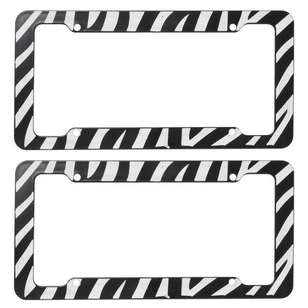 BDK USA 2pc Set Plastic License Plate Frames with Zebra/Tiger Stripes, White & Black