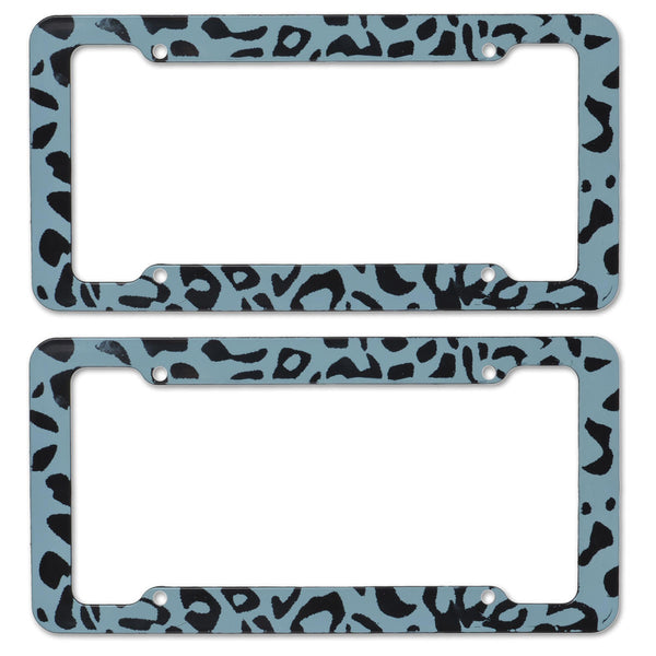 BDK USA 2pc Set Plastic License Plate Frames with Leopard Print (Gray)