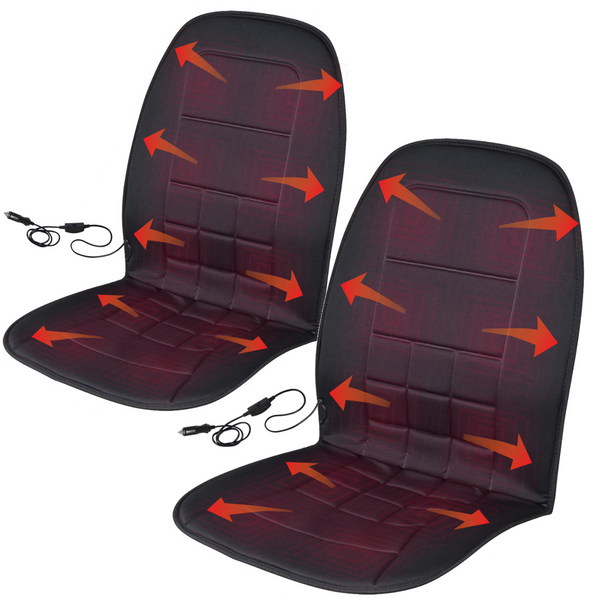 Travel Warmer Pair - 2 Heated Seat Cushions 12-Volt Padded Thermal Release