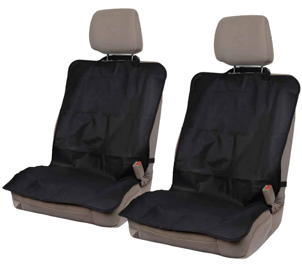 On-The-Go Waterproof Car Seat Protectors for Gym Work Travel - Black Oxford Fabric - Quick n Easy Heavy Duty Covers 2pc