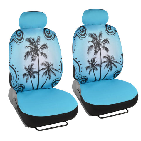 Blue Palm Tree Car Seat Covers - Tropical Islander - Front Universal Fit