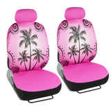 Pink Palm Tree Car Seat Covers - Tropical Islander - Front Universal Fit