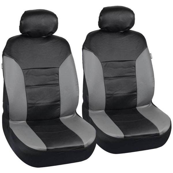 Motor Trend Two-Tone PU Leather Car Seat Covers - Trim Accent in Premium Leatherette (3 Color)