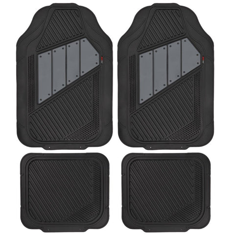 Motor Trend FlexTough 2 Tone Rubber Car Floor Mats for Auto 4 Piece - Heavy Duty All Weather Protection (4 Color)